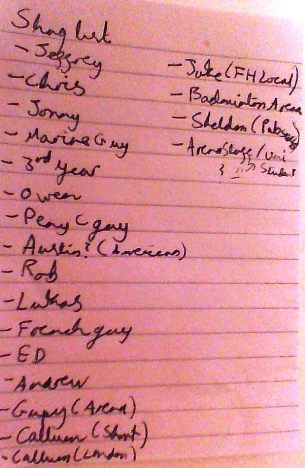 Elina's 'Shag' list