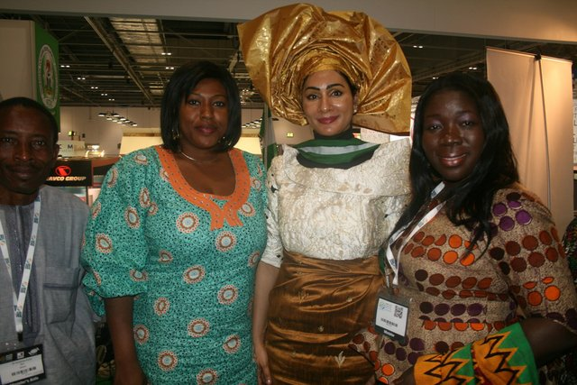 From Left to Right: A member of the Ghanaian delegation to the WTM; NTDC Board Member - Princess Miriam Onuoha; Mrs. Sally Mbanefo; and Minister, Ministry  of Tourism, Ghana - Hon. Elizabeth Ofosu Adjare  during a courtesy visit to the  Nigerian stand.