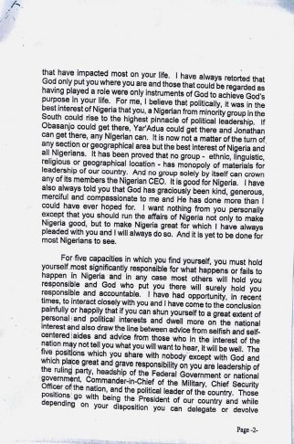 Obasanjo's letter to Jonathan 2 Dec 2013 - Page 2