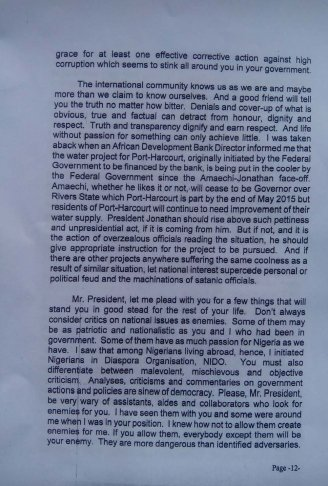 Obasanjo's letter to Jonathan 2 Dec 2013 - Page 12