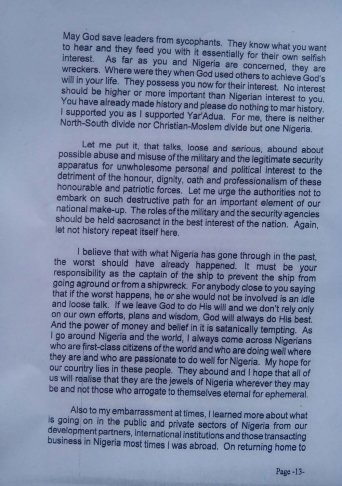 Obasanjo's letter to Jonathan 2 Dec 2013 - Page 13
