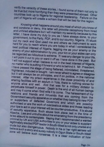 Obasanjo's letter to Jonathan 2 Dec 2013 - Page 14