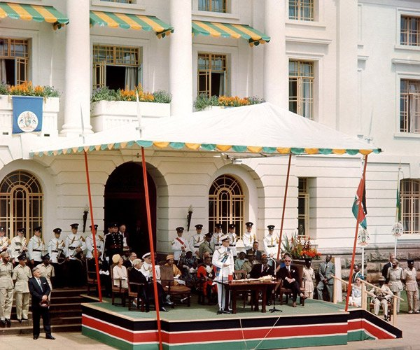 Prince Philip of Great Britain hands over Nairobi town to Prime Minister Jomo Kenyatta on December 12 1963