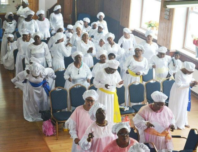 A cross-section of the church congregation during the service