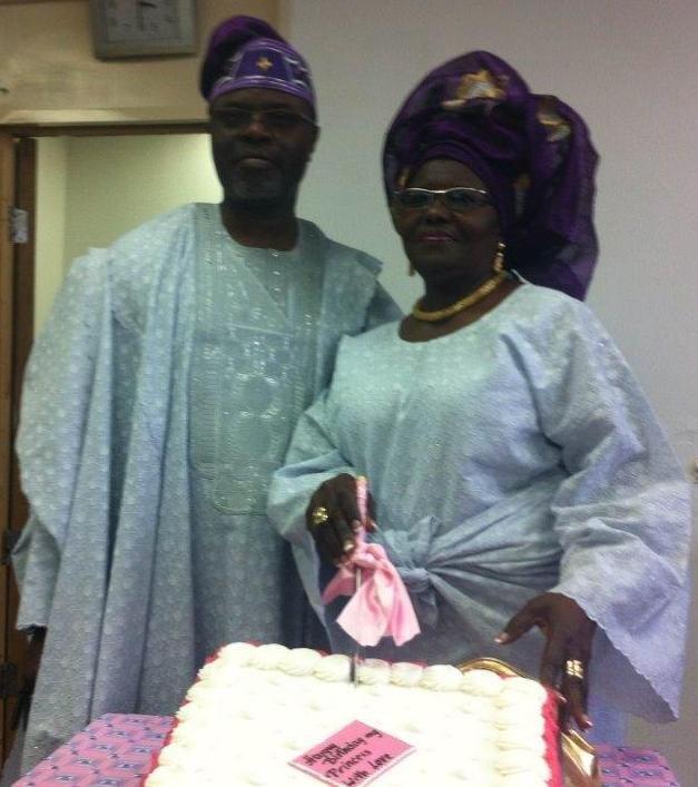 Princess Adenuga and her husband - Otunba Femi Adenuga - CEO, Femade UK Ltd cutting the Birthday cake