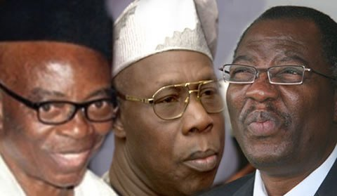 From left - Jubril Martins-Kuye, Olusegun Obasanjo and Gbenga Daniel