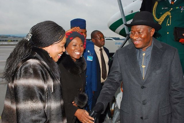 President Jonathan on arrival in Zurich en route Davos for the World Economic Forum