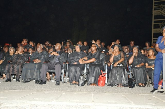 Mourners during the ceremony