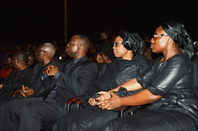From left, Ambassador Victor Gbeho (Komla's uncle), Prof. Ernest Dumor (Komla's father), Dr. Koshie Dumor (Komla's brother), Kwamsema Dumor (Komla's wife) and Mawuena Trebarh (Komla's sister)