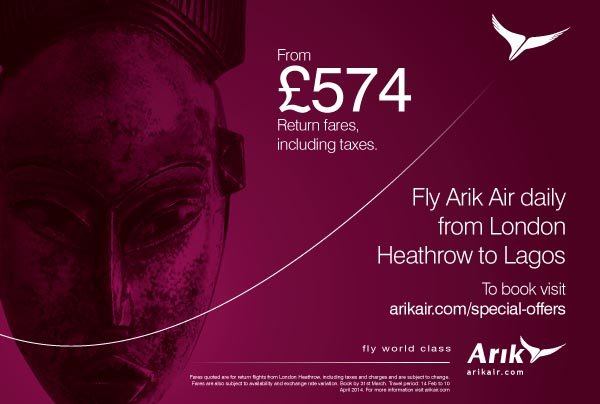 Fly Arik from London to Lagos from £574 inclusive