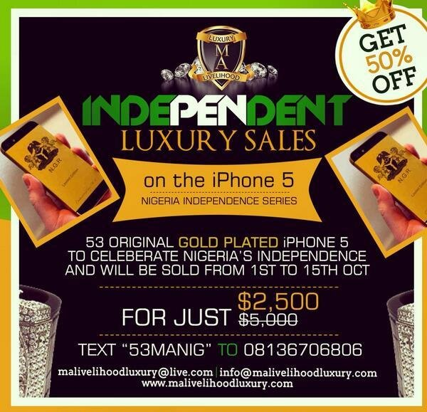 The prices of the Nigeria Independence customised luxury phones were slashed from $5000 to $2500 in a 50% off promotion