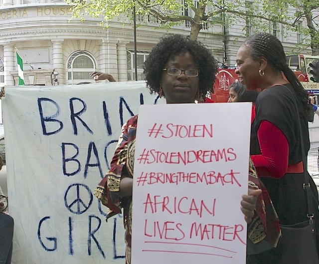 The #BringBackOurGirls protest took place in London on Monday with another billed for Friday May 9 outside the Nigeria High Commission
