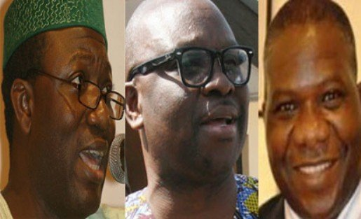 From left: Kayode Fayemi, Ayodele Fayose and Opeyemi Bamidele