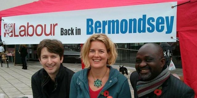 The three Labour candidates for South Bermondsey ward  - Leo Pollak, Catherine Dale and Sunny Lambe