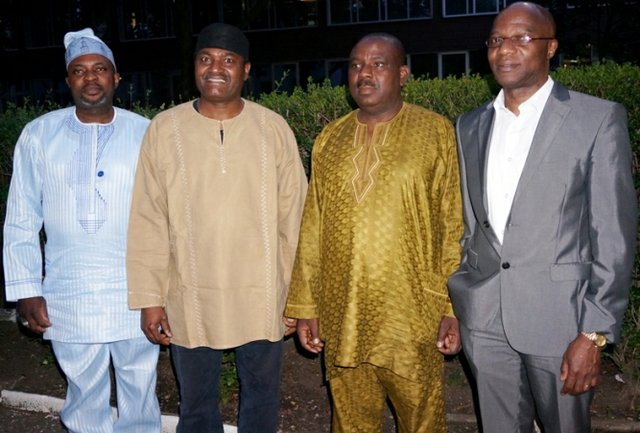 From left: Monsuru Adebola, Femi Awoniyi, Segun Ojo and Isaac Atibioke at the endorsement of Fayemi by Ekiti Diaspora Europe