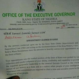 Letter of Appointment - Emir Lamido Sanusi