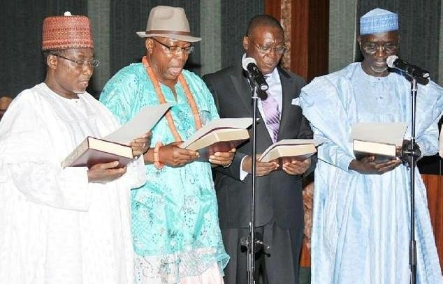 New Ministers: Bulama (Science &Technology), Orise-Oru (Niger Delta), Adeyeye (Works) and Shekarau (Education)