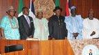 President Jonathan and Vice President Sambo with new Ministers - Abdu Bulama, Steve Orise-Oru, Dayo Adeyeye and Ibrahim Shekarau
