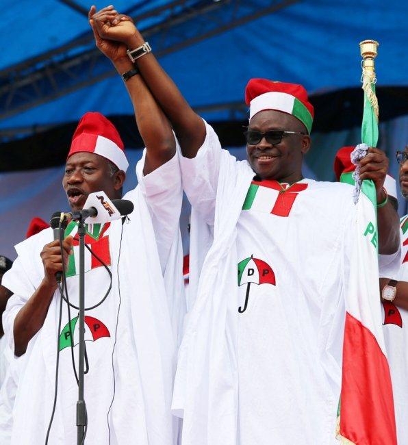 President Goodluck Jonathan and Ayodele Fayose
