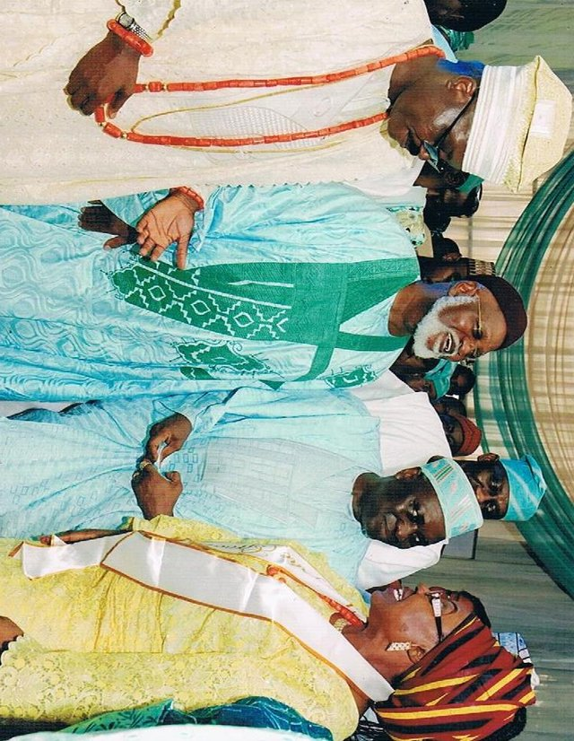 Nigeria's former Head of State - General Abdusalami Abubakar GCFR, former Inspector General of Police - Alhaji M Smith flanked by Ambassdor O.K. Lawal and H.E Abiodun Lawal