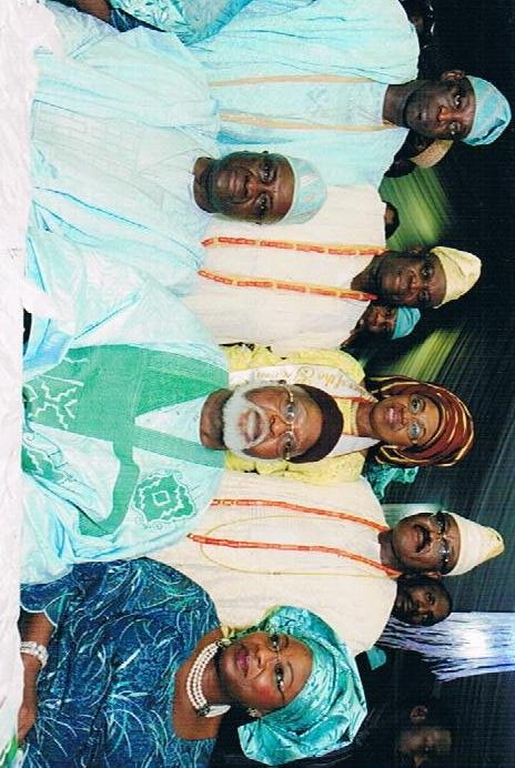 Standing: Otunba Dapo Ali-Balogun - Uncle of the Bride, Otunba Nurudeen Adeyinka Ojora-Adejiyan (Bride's father), Amb and Mrs O.K. Lawal (Groom's parents). Seated: Former IGP - Alhaji M. Smith, General Abdusalami Abubakar and a guest.