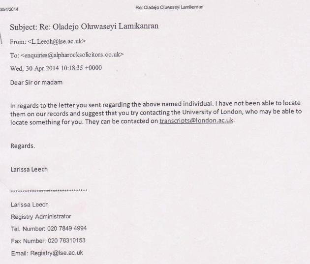 Email from London School of Economics re Lamikanra