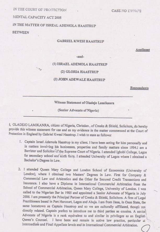 Lamikanra's Witness Statement claiming to attend Queen Mary and LSE