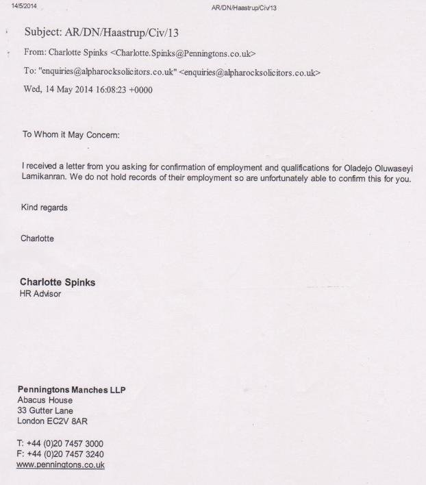 Letter from Penningtons Manches LLP re Lamikanra