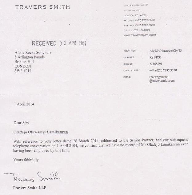 Letter from Travers Smith re Lamikanra