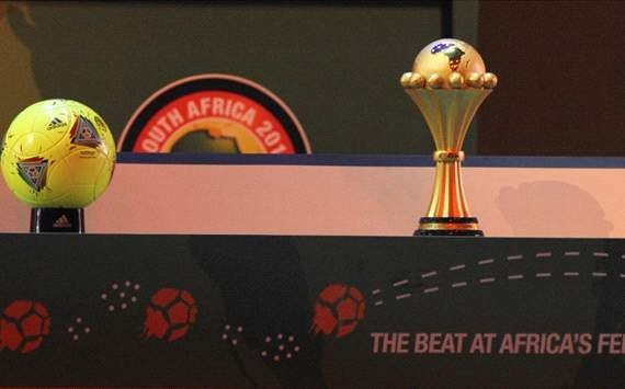 The official AFCON ball and AFCON trophy
