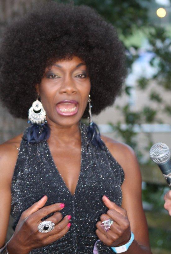 Boney M's Maizie Williams being interviewed by Samuel Port at The Beat Herder Fest 2014