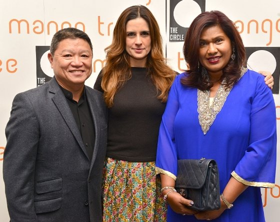 Livia Firth with owners of The Mango Tree, Eddie and Joyce Lim