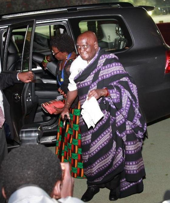 Kaunda arrives to attend the celebrations of the 50th anniversary of Zambian independence