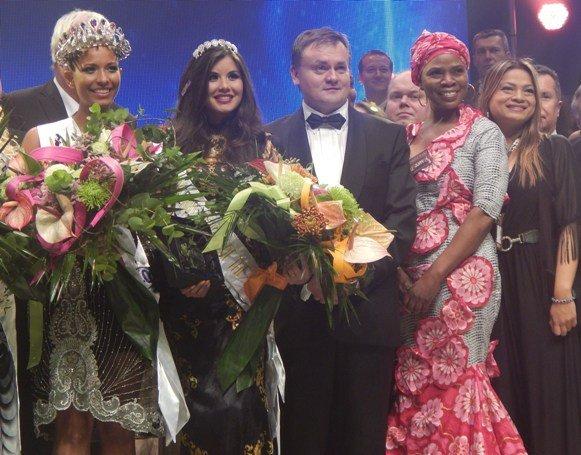 Left to Right: Andella Chileshe Matthews; Monika Vaculĺková; Ing Viktor Krča - President of the Princess of the World Pageant; Justina Mutale -  Founder of Miss Zambia UK and Princess of the World Judge; Maya - Canada National Director