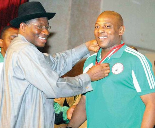 Goodluck Jonathan and Stephen Keshi