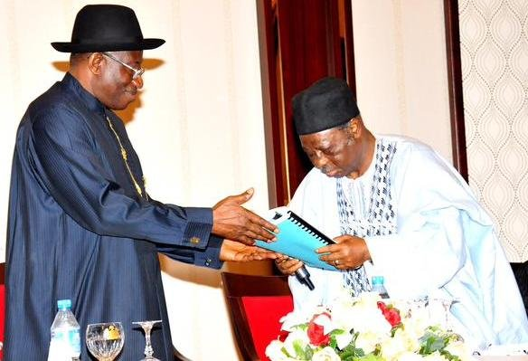 President Jonathan receiving the Report of the PDPPCO on the 2015 Presidential Election from DG PDPPCO - Dr Ali