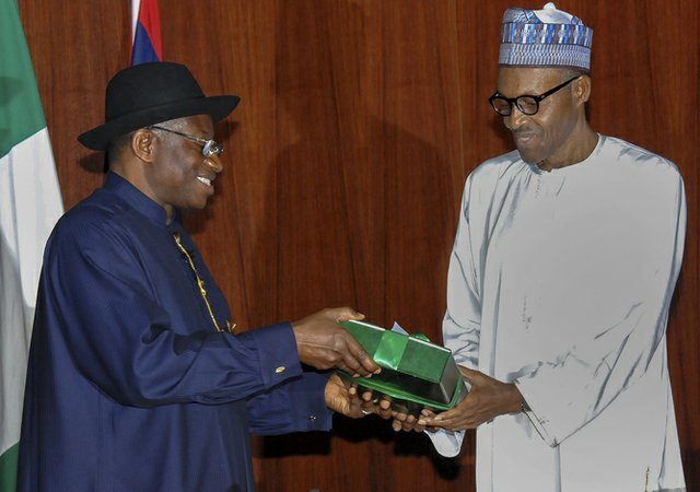 Goodluck Jonathan hands over to his vanquisher, Muhammadu Buhari.