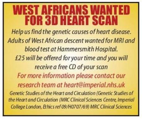 WEST AFRICANS wanted for 3D heart scan