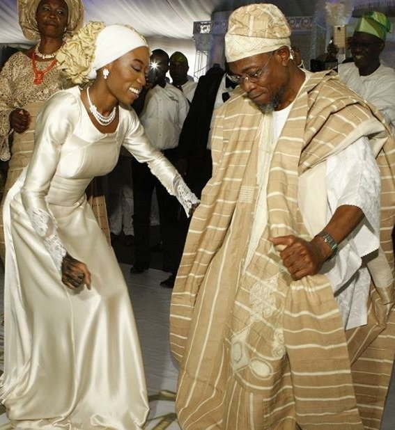 Aregbesola dancing with his daughter at her wedding