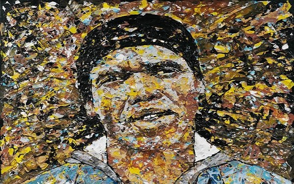 'Self Portrait' by South African artist Mbongeni Buthelezi, who creates Pollockesque canvases using recycled plastic.
