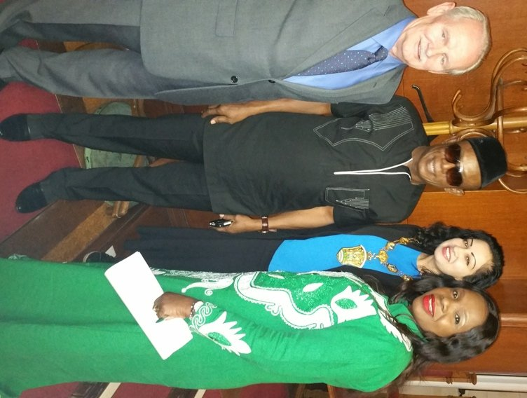 Cllr Robbins, Nkem Owoh, Waltham Forest Council's Mayor - Cllr Saima Mahmud and Anna Mbachu
