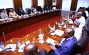 The South Africa and Nigeria sides in talks at the State House.jpg
