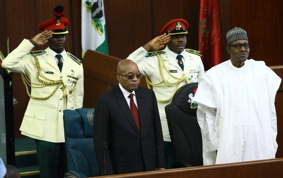 Zuma and Buhari at the joint session of the National Assembly.jpg