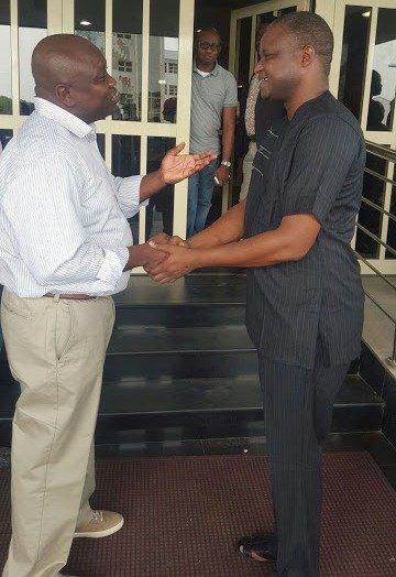 Abba Kyari in a warm hand shake with Lagos State Governor - Akinwunmi Ambode