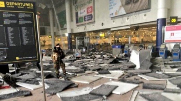 Brussels Zaventem Airport's departure area after the explosion