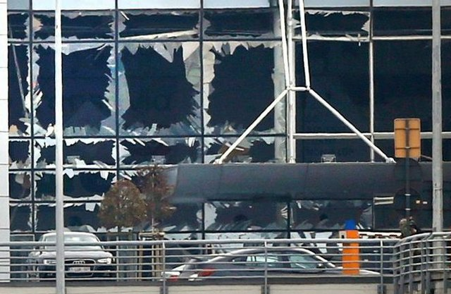 Windows blown out at Brussels Zaventem Airport