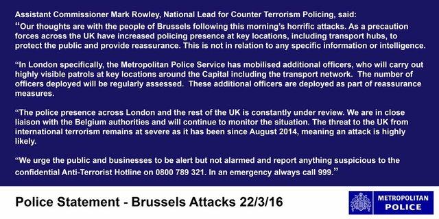 London Metropolitan Police statement on #Brussels attacks