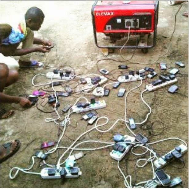 Electricity in short supply- taking advantage of a generator to charge mobile phones