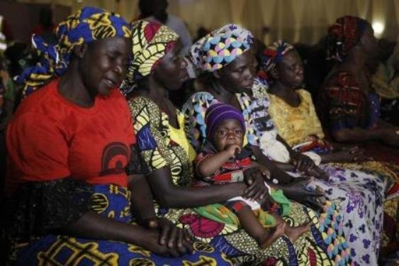 Parents of the Chibok girls attend a meeting with President Buhari January 14, 2016.