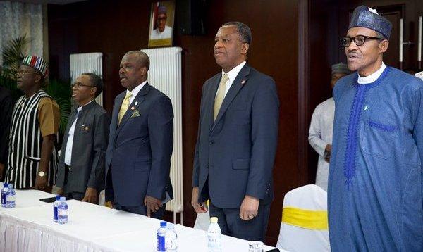 President Buhari, Foreign Minister Geoffrey Onyeama, Ogun State Governor - Ibikunle Amosun and Kaduna State Governor - Nasir El-Rufai